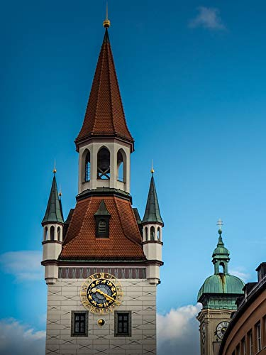 Home Comforts Peel-n-Stick Poster of Clock Munich City Architecture Churches Steeples Vivid Imagery Poster 24 x 16 Adhesive Sticker Poster - Clock Munich