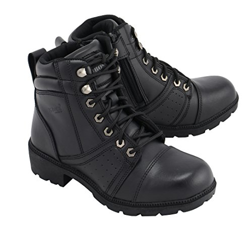 (M Boss Apparel BOS49302 Ladies 6 Inch Black Accelerator Leather Motorcycle Boots - 9.5)