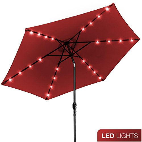 Sorbus LED Outdoor Umbrella, 10 ft Patio Umbrella LED Solar Power, with Tilt Adjustment and Crank Lift System, Perfect for Backyard, Patio, Deck, Poolside, and more (Solar LED - - Oasis Furniture Outdoor
