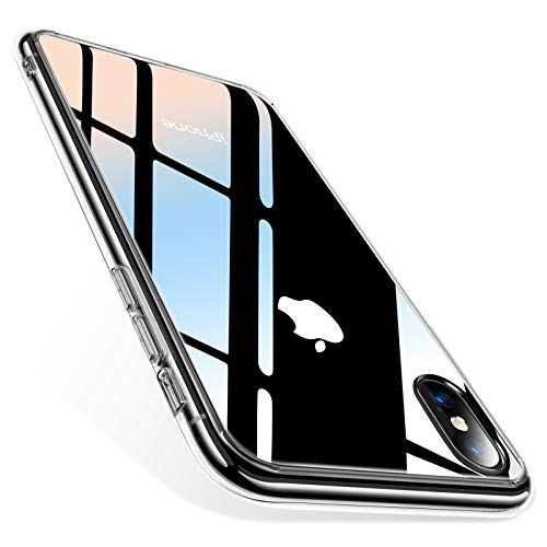 TORRAS Clear iPhone X Case, 9H Tempered Glass Hard Back Scratch-Resistant with Shock Absorption Silicone TPU Bumper Slim Fit Case Cover for iPhone X (2017) Only, Clear