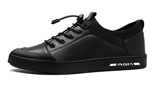Tda Muchachos Para Hombre Con Cordones De Senderismo Al Aire Libre De Cuero De La Pu Tapa-toe Deporte Zapatillas Zapatos Casuales Negro