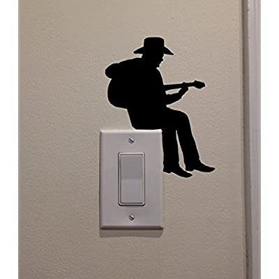 YINGKAI Cowboy Playing Guitar On Light Switch Decal Vinyl Wall Decal Sticker Art Living Room Carving Wall Decal Sticker for Kids Room Home Window Decoration: Toys & Games