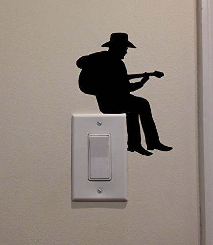 YINGKAI Cowboy Playing Guitar On Light Switch Decal Vinyl Wall Decal Sticker Art Living Room Carving Wall Decal Sticker for Kids Room Home Window Decoration