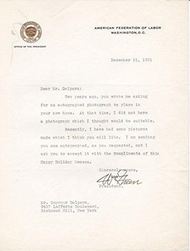 TYPED LETTER SIGNED BY AMERICAN UNION LEADER AND PRESIDENT OF THE AFL WILLIAM GREEN.