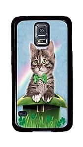Rugged Samsung Galaxy S5 Case, Irish Hat Kitten Custom Design Hard PC Plastic Case Cover for Samsung Galaxy S5 Black