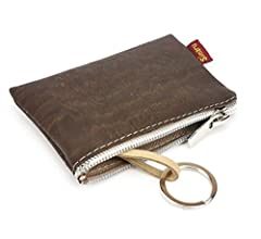 Portamonedas con cremallera - bolsillo extra para tarjetas y anilla para llaves - Monedero pequeño con llavero para el bolsillo o el bolso – Vegano! - ...