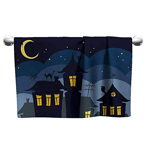 DUCKIL Luxury Hand Towels Halloween Old Town with Cat on The Roof Night Sky Moon and Stars Houses Cartoon Art Popular Bath Sheets 55 x 27 inch Black Yellow Blue]()