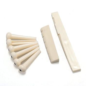 6 stücke Akustische Gitarre Knochen Bridge Pins mit Knochen Sattel Mutter