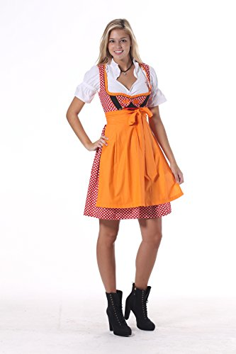 Oscartrachten Dirndl nbsp;vestito Und Rot Kariert nbsp;– nbsp;– nbsp;per Orange Donna xZavAx7