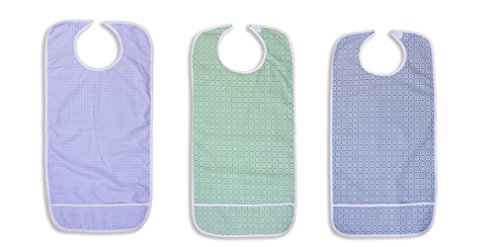 3 Pack Vinyl Backing Adult Bibs with Crumb Catcher and Velcro Closure - Plaid Prints by Nobles Health Care Product Solutions