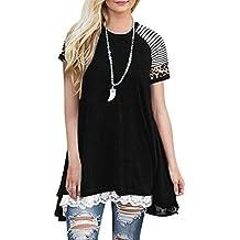 Meikosks Women's A-Line Flowy T-Shirt Leopard Short Sleeve Blouse Lace Patchwork Tops