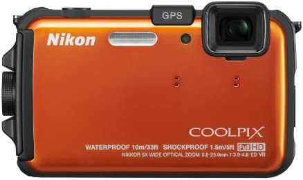 Nikon COOLPIX AW100 16 MP CMOS Waterproof Digital Camera with GPS and Full HD 1080p Video Orange OLD MODEL