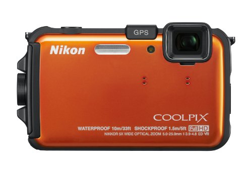 Nikon COOLPIX AW100 16 MP CMOS Waterproof Digital Camera with GPS and Full HD 1080p Video (Orange) (OLD MODEL) by Nikon
