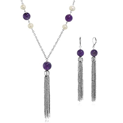 Amethyst Pendant Earrings Set (28