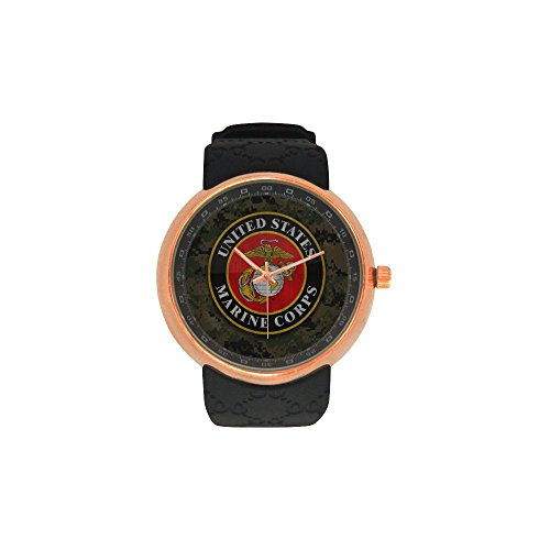 Novelty Gift USMC United States Marine Corps Men's Rose Gold Plated Resin Strap Watch by USMC Watch (Image #4)