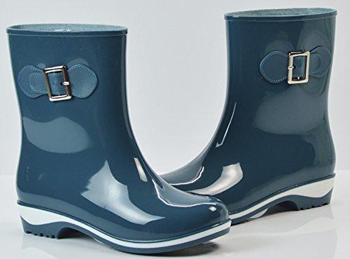 Qzunique Donna Impermeabile In Gomma Gelatina Antiscivolo Pioggia Boot Fibbia Alla Caviglia Scarpe Da Pioggia Alta Green-2