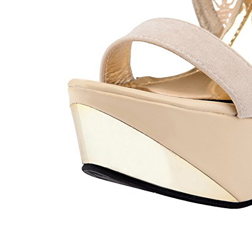 Solid Womens Sandals AmoonyFashion Stilettos Spikes Open Zipper White Toe ZnzqAY