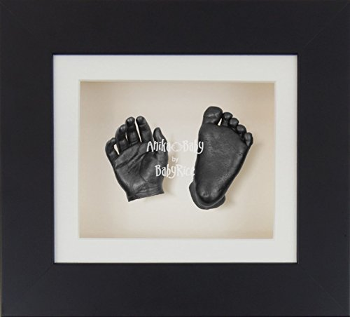 BabyRice 3D Baby Boy Girl Casting Kit Black Box Display Frame Pewter Foot Casts by BabyRice