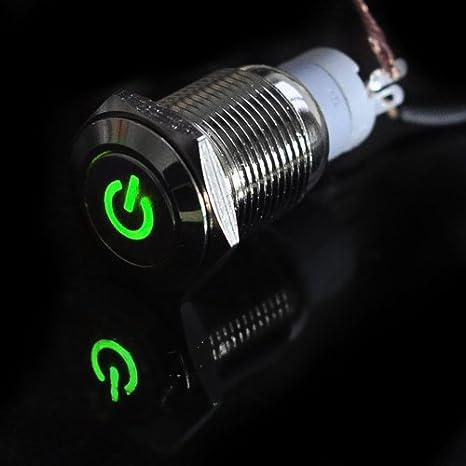 HOTSYSTEM Interruptor de boton de tipo de 16mm 12V,con luz de LED con icono de Energía materia metalica para Automovil,barco,etc,color de LED verde: ...