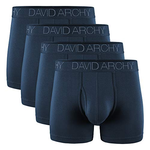 DAVID ARCHY Men's Breathable Bamboo Rayon Boxer Briefs with Fly in 4 Pack (XL, Navy Blue-4.5