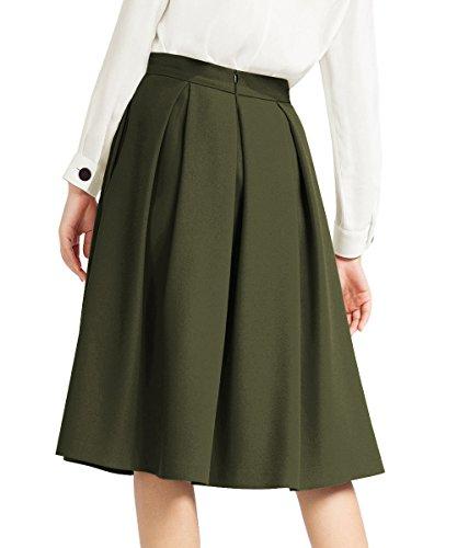0e35015b2 Yige Women's High Waisted A line Skirt Skater Pleated Full Midi Skirt Green  US16