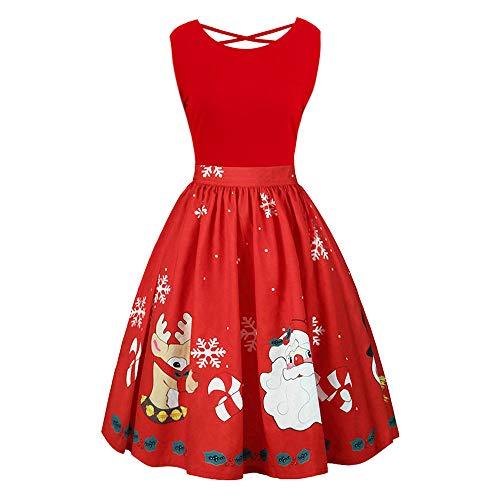 Women Christmas Dress Print Vintage Sleeveless Vest Cross Black Party Swing Cross Strap Dress Dress