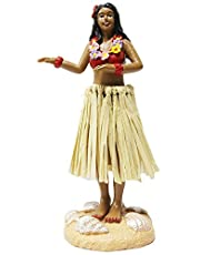 Hula Girl Mini Size Dashboard Doll 4.5High with Raffia Skirt (multi-color)