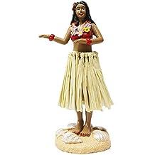 "Hula Girl Mini Size Dashboard Doll 4.5"" High Raffia Skirt (Multi-Color)"