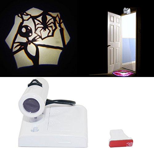 Spoya Halloween Pumpkin Jack Skellington Home Bar Shop wireless Door open welcome LED ground logo shadow CREE laser projector decoration light lamp (Jack Skellington)