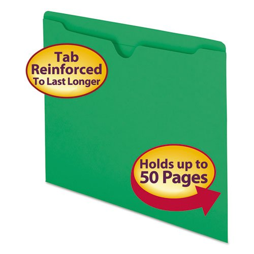Colored File Jackets w/Reinforced 2-Ply Tab, Letter, 11pt, Green, 100/Box by Smead