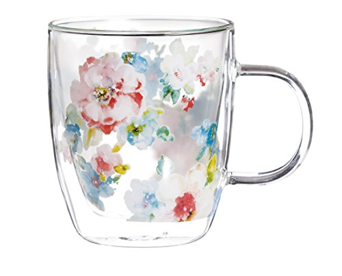 - Cypress Home Summer Bloom 12 oz Artisan Double-Wall Glass Coffee or Tea Café Cup in Coordinating Gift Box - 4.75