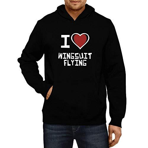 Idakoos I Love Wingsuit Flying Bicolor Heart Hoodie L Black