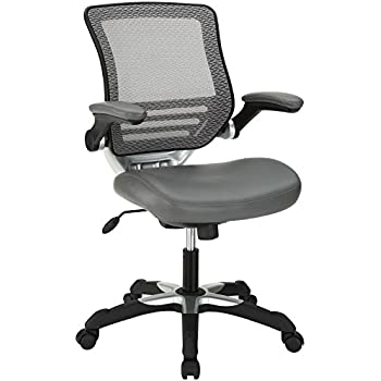 Modway Edge Mesh Back and Gray Vinyl Seat Office Chair With Flip-Up Arms - Ergonomic Desk And Computer Chair