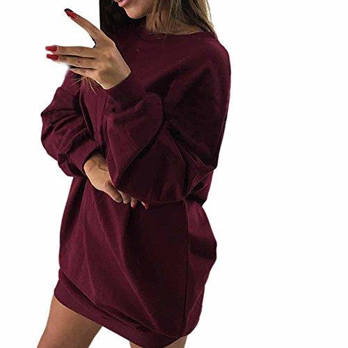 iLUGU O-Neck Long Sleeve Mini Dress for Women