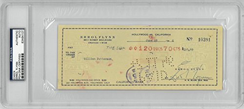 Errol Flynn Signed Authentic Cancelled Check Slabbed PSA/DNA #83464107
