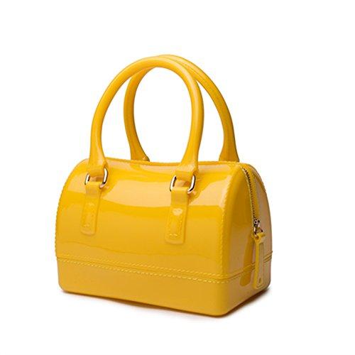 Girls Jelly Mini Candy Handbag Crossbody Shoulder Bags for Summer (Yellow Mini Handbag)