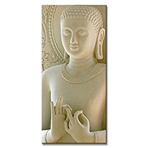DVQ Art Framed White Buddha Wall Art Painting Canvas Vertical Forms Picture  For Living Room Decor Ready To Hang 1 Pcs/Set (20Inchx40Inch(50cmx100cm))