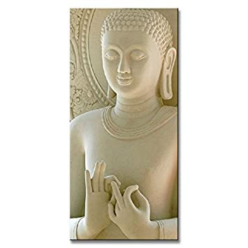 DVQ ART-Framed White Buddha Wall Art Painting Canvas Vertical Forms Picture for Living Room Decor Ready to Hang 1 Pcs Set 20Inchx40Inch 50cmx100cm