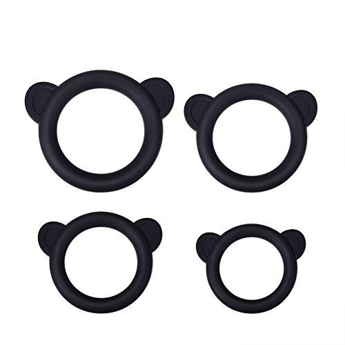 Anillos de pene con cuatro tamaños diferentes y Utimi cuatro Pecies traje lindo pequeño oso silicona anillos del martillo