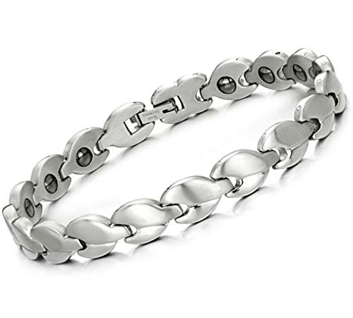 KnSam Bracelets with Charms Stainless Steel Chain Link Bracelet for Womens Irregular Chain White 21CM ()