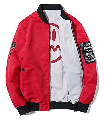 chouyatou Men's Lightweight Reversible Smile Face Printed Bomber Jacket (Large, Red White)