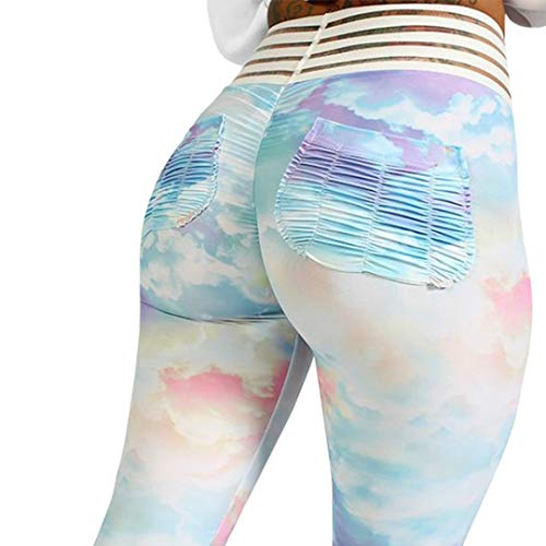 Meilidress Womens Ruched Butt Lifting Leggings High Waisted Workout Sport Tummy Control Gym Yoga Pants (Large, 2-Sky Blue)