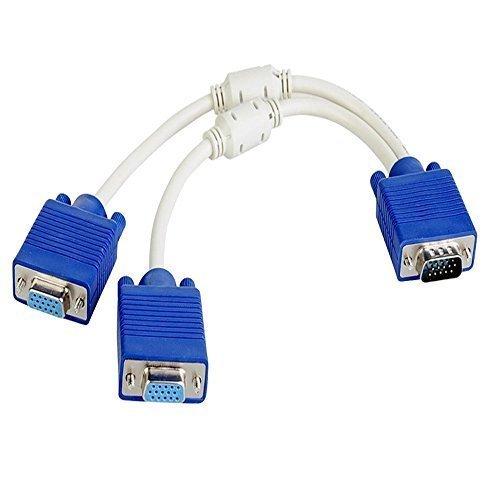 Caxico 15 Pin VGA 1 Male to Dual 2 VGA Female Adapter Converter Splitter Video (Vga Out 15 Pin)