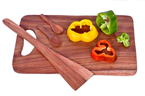Urban Glitz Natural Premium Mehogany Wood Cutlery Accessory Medium Size Wooden Kitchen Chopping Cutting Board with Handle with a Wooden Spatula and Two Spice Spoons Combo Pack Price & Reviews