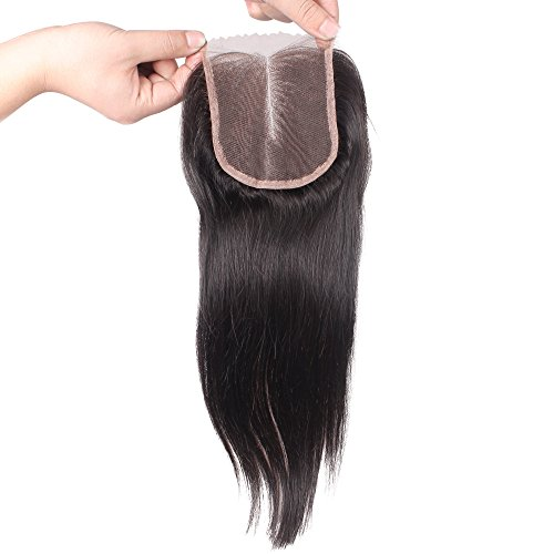 Aiva Hair 7a Brazilian Straight Lace Front Closure Piece 3.5x4 Virgin Human Hair Closure Bleached Knots Middle Part Lace Closure with Baby Hair in Stock (18inch)