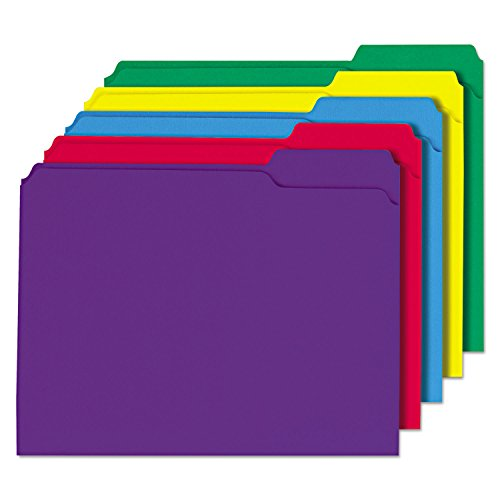 (Universal 16166 File Folders, 1/3 Cut Double-Ply Top Tab, Letter, Assorted Colors, 100/Box)