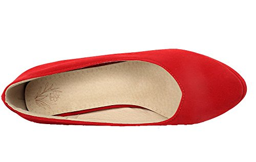 Pumps Heels Red Women's High Round Toe Shoes Solid Frosted AmoonyFashion Closed qAnSWZnH