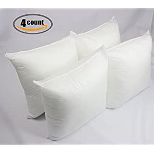 "Set of 4 - 18"" x 18"" Premium Hypoallergenic Stuffer Pillow Insert Sham Square Form Polyester Decorative Sofa and Bed Throw, Standard / White - MADE IN USA"
