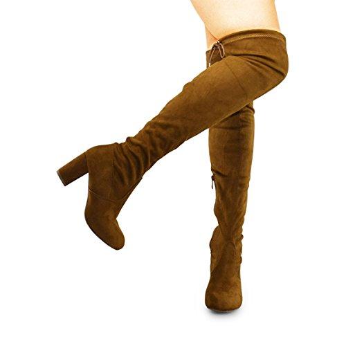 Premier Standard Damenmode Bequeme Vegane Wildleder Block Heel Slip On Oberschenkel Hohe Overknee Stiefel Premium Kamel Su
