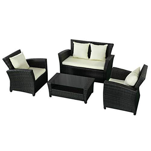 MAREEYA SHOP 4 PCS Black Wicker Cushioned Rattan Patio Set Garden Lawn Sofa Furniture Seat